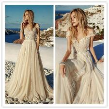 Boho Ladies Wedding Dresses Bridal Gown Custom Sweetheart Neck Top Lace Vintage