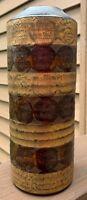 Tall Vintage Cylindrical Circles Stoneware Ceramic Vase Mid Century Modern Japan