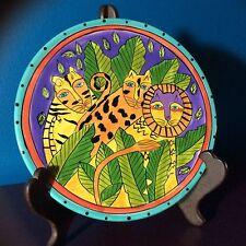 Laurel Burch Jungle Design 1998 Charger Plate -  Lion, Blue Rim