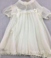 Vintage Hand Sewn Silk Baby Doll Christening Dress w/ Slip Lace Trim Ribbon