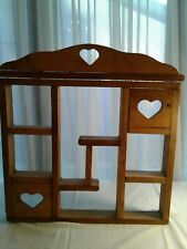 Vintage Wooden Knick Knack Hanging Display Wall Shelf/With 3 Heart Cut Out