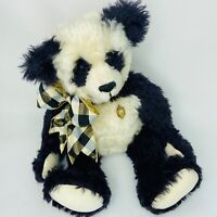 "Artist Panda Teddy Bear Judy Howard Curly German Mohair 19"" Jointed Glass Eyes"