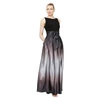 S.L. Fashions Women's Petite Sleeveless Bead Waist Black Silver Maxi Dress Sz 16
