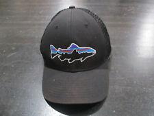 Patagonia Hat Cap Black Purple Mesh Trucker Trout Fishing Fisherman Mens *