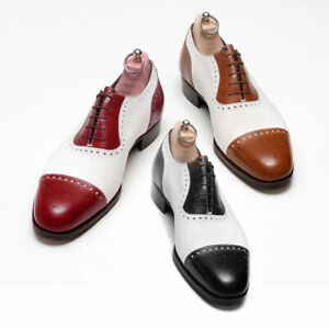 NEW-Handmade Men's Spectator Wingtip Brogue Leather Shoes, Men Two Tone Shoes