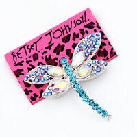 Betsey Johnson Blue Crystal Rhinestone Cute Dragonfly Charm Party Brooch Pin