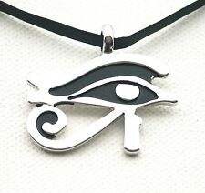 Egyptian Eye of Ra Horus Thoth Udjat Pendant LEATHER-Necklace Choker ADJUSTABLE