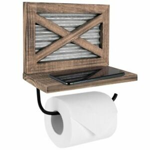Autumn Alley Rustic Farmhouse Barn Door Wood Toilet Paper Holder with Shelf