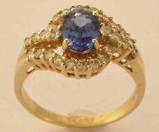 14k Yellow Gold Diamond and Tanzanite Ring Size 7