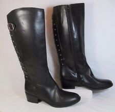 Cosmopolitan Faux Leather Tall Studded Fashion Boots Black Sz 11-M