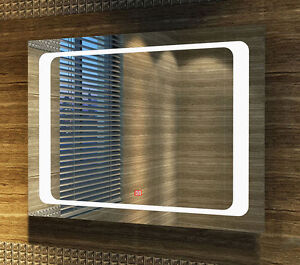 Large Modern Illuminated LED Bathroom Mirror Light Sensor Switch 80 x 60cm STY
