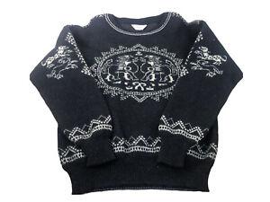vtg 80's Steffner raw wool ski sweater from Austria womens sz L/M black white