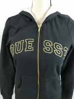 Guess Womens S Black Sherpa Lined Gold Zip Up Hoodie Jacket Sweatshirt VTG