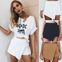Women Plain Mini Irregular Skirt Shorts Culottes Wrap Mini Casual Pants Summer