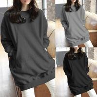 Women Spring Summer Jumper Sweater Pullover Oversized Solid Long Shirt Top Dress