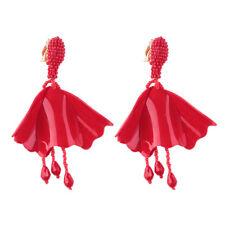 Boucles d'Oreilles CLIP Chandelier Pétale Resine Mini Perle Rouge Artisanal J11