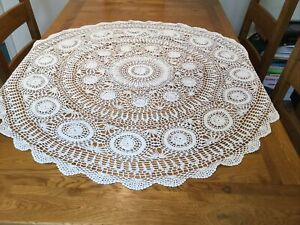 "Vintage White Circular Cotton Crochet Tablecloth 41"" or 104 Cms Diameter"