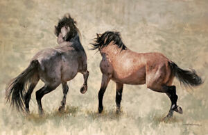 HORSE ART ORIGINAL PAINTING: WILD HORSES WALL ART REALISM BY LEE MITCHELSON