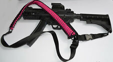 Tactical Paracord Gun Rifle Bow Shotgun Sling 1 or 2 Point w/QD - HOT PINK BLACK