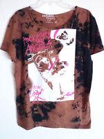 Rockstars & Angels guitar band print design brown tee t shirt size S New 59 Euro