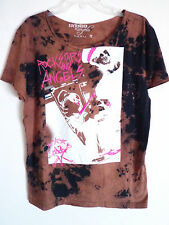 Rockstars & Angels guitar band print design brown tee t shirt size S New 59 Euro