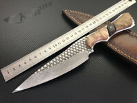Damascus Hunting Knife Leather VG10 Hand Made Sheath Fixed Blade Wine Slicer