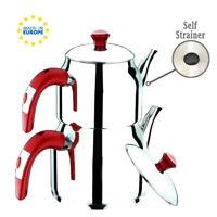 Turkish Stainless-Steel Tea Pot Set, Self Strained Samovar Style Stovetop Teapot