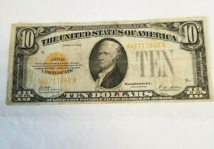 1928 US GOLD CERTIFICATE PAPER MONEY - 10 DOLLARS BANKNOTE!