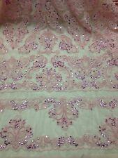 """PINK BEADED & SEQUINS BRIDAL LACE CORDED FABRIC 50"""" WIDE 1 YD"""