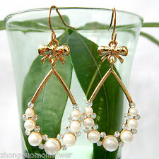 Navachi Bowknot Pearl Ball 18K GP Crystal Hook Dangle Drop Earrings BH1730