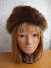 "EXCELLENT BROWN MUSKRAT FUR HAT WOMEN WOMEN CHILDREN SIZE 19.5"" XSMALL"
