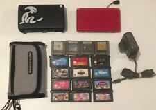 Nintendo DS Lite Red Console Bundle 16x Game Cartridges Metal Case Power Adapter