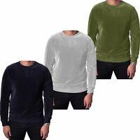 New Men Velour Velvet Jumper Long Sleeve Sweater Pullover Sweatshirt Classic Top