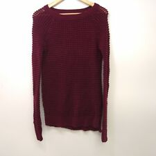New American Eagle AEO Womens Burgundy Red Knit Crewneck Jegging Sweater Size XS