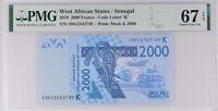 West African States Senegal 2000 Francs 2019 P 716 K Superb Gem UNC PMG 67 EPQ