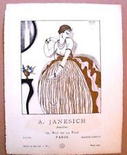 A. Janesich  Joaillier Planche pub 1920 pochoir E. Halouze Gazette Bon Ton