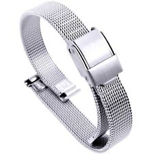 10mm Stainless Steel  Mesh Milanese Watch Band Bracelet Color Silver PVD