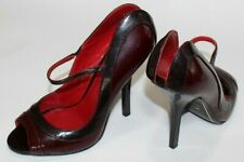 Charles Jourdan Paris 6.5 M Burgundy Patent Leather Open Back Acrylic Heel $189