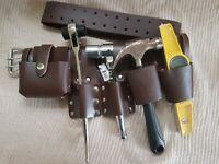 """2""""SCAFFOLDING Brown LEATHER Tools Set BELT Spanner Hammer Tape Level Holder"""