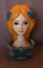 Vintage Hong Horizons paper mache lipstick holder 1960's blonde hair blue bows