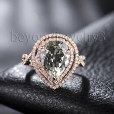 Solid 14K Rose Gold Engagement Wedding Diamond & Green Amethyst GemstoneRing
