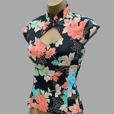 KAREN MILLEN Black Satin Chinese Oriental Floral Corset Style Top Blouse 8 UK