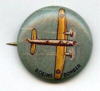 Boeing Bomber Junior Airplane Vintage Pinback Button Pin Flight Plane - BJ710