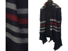 LARGE NAVY WITH RED WHITE STRIPES SCARF RECTANGLE LARGE SHAWL FRINGE