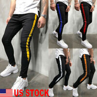 Men's Biker Jeans Pants Stretchy Skinny Denim Slim Fit Long Straight Trousers US