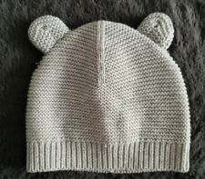 Carter's ~ Solid Gray Knitted Beanie With Ears~ 3 Months Unisex