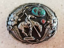 End Of The Trail Belt Buckle With Genuine Turquoise And Indian Head Pennies