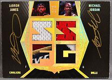 07-08 UD Black Lebron James Michael Jordan DUAL NBA JERSEY LOGO PATCH AUTO #1/5