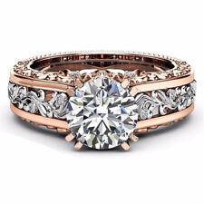 925 Silver White Topaz& Morganite Women Jewelry Wedding Engagement Ring Sz 6-10