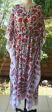 Anokhi White & Red Bird & Floral Kaftan, 100% Cotton, Ankle Length, One Size